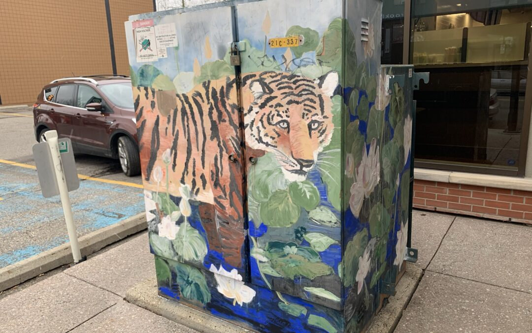 """""""Tiger in The Lilies"""" Utility Box Mural"""