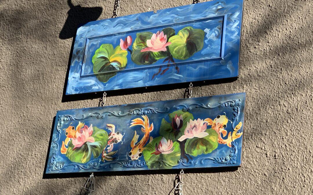 """Koi Pond"" Painted Piano Panels"